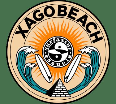 Insignia de Xagó Surf, xago beach, aprende a surfear en asturias con al escuela surfastur